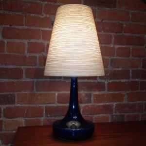 """Vintage Lotte table lamp with original shade & finial - beautiful cobalt blue glaze - this beauty stands - 23.25""""H - (SOLD)"""