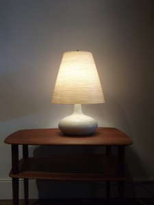 """Gorgeous Vintage Off White Ceramic lamp by Lotte & Gunnar Bostlund - comes with it's original fiberglass shade - this beauty stands - 20""""H - (SOLD)"""