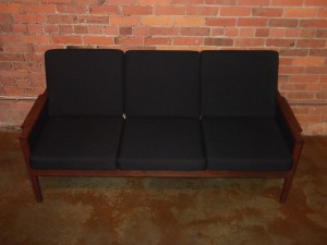 """Gorgeous Classic 1960's Danish modern teak 3 seater sofa - very similar to one of Illum Wikkelso's designs - this beauty has all new foam & upholstery - measures - 69""""L x25.5""""D x 32""""BH x 16""""SH - (SOLD)"""