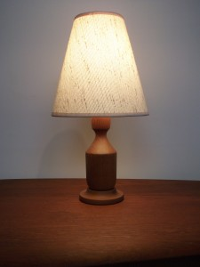 """Handsome small 1960's teak bed-side lamp with it's original shade - this beauty stands - 15.75""""H - (SOLD)"""