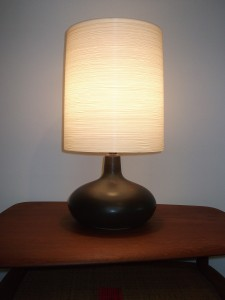 """Exceptional Mid-century ceramic lamp w/ it's original fiberglass lampshade by Lotte & Gunnar Bostlund - gorgeous rich dark brown almost black glaze with some earthy mossy green swirled in towards the neck - WOW - stands - 20""""H -(SOLD)"""