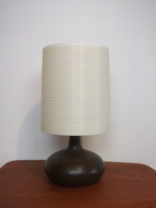 """Exceptional Mid-century ceramic lamp w/ it's original fiberglass lampshade by Lotte & Gunnar Bostlund - gorgeous rich dark brown almost black glaze with some earthy mossy green swirled in towards the neck - WOW - stands - 20""""H - (SOLD)"""