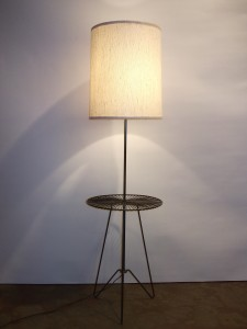 Fabulous 1950's 3 legged Hairpin legged floor lamp with center table - very good vintage condition - (SOLD)