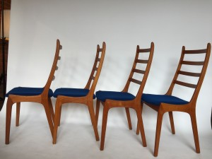 Incredible Set of 4 high back dining chairs - Designed by Kai Kristiansen - Made in Denmark - newly re-finished solid teak curved frames - the contoured backs make for a comfortable back rest - try them out - the seats have a gorgeous deep blue fabric that are clean and usable or you could re-do to suit your style easily :) - (SOLD)