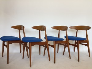 Outstanding Set of 4 RARE Hans J. Wegner dining chairs - model # ch33 - design year - 1957 - newly upholstered in a gorgeous Kvadrat - wool blend - very good vintage condition - (SOLD)