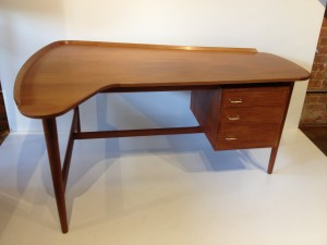 """Exceptional Early 1950's Teak Executive Desk - Designed by Architect/Designer Arne Vodder for Bovirke - incredilbe quality craftsmanship - outstanding design - large opening for any desk chair you many choose to go with this Rare beauty - a definite show stopper by one of Denmark's Best - 61""""L x 45""""D x 28.5""""H - (SOLD)"""