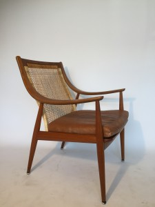 """Gorgeous """"Rare"""" High back teak lounge chair - designed by Danish Duo Peter Hvidt & Orla Molgaard-Nielsen for France & Son - Made in Denmark - original leather seat - very nice vintage condition - (SOLD)"""