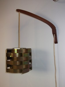 """Unique Danish Mid-century wall light - metal shade with teak adjustable arm - very good vintage condition - 16""""D - (SOLD)"""