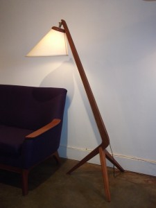 """Spectacular Mid-century modern 3 legged teak floor lamp with a new custom shade - this beauty stands 58.5""""H - (SOLD)"""