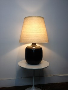 """Gorgeous 1960's ceramic lamp by Lotte & Gunnar Bostlund - fabulous charcoal grey - come with it's original fiberglass shade - stunning glow - this beauty stands - 25.25""""H - (SOLD)"""