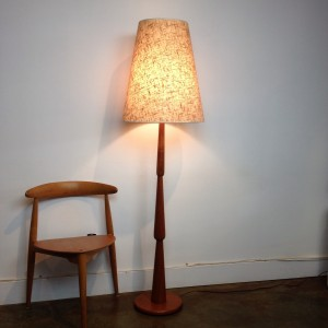 """Spectacular Mid-century modern teak turned floor lamp - incredible design - comes with the original lamp shade - stands - 62.5""""H -(SOLD)"""