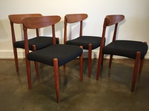 Set of 4 teak 1960's dining chairs designed by Nils Jonsson for Troeds Sweden reupholstered in Kvadrat Tonica fabric (SOLD)