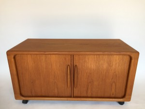 """Mid-century Modern teak tambour door small credenza by Danish Company Dyrlund - perfect for your media /turntable /vinyl etc... or use for your T.V - - would be useful in many ways - 4 ft L x 20.5""""H x 24""""H - (SOLD)"""