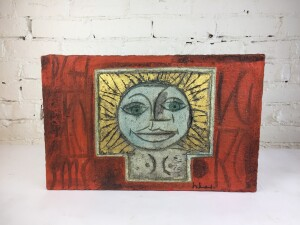 """Incredible Vintage Art by Local Artist Herbert Siebner - a """"RARE FIND"""" - hand painted on a carved stone and mounted on wood $1,500"""