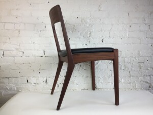 Fabulous Mid-century Modern teak dining chair - newly re-finished solid teak frame along with a newly upholstered seat with new foam and black naugahyde - one only -