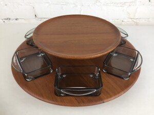 Fabulous 1960's Lazy Susan / serving tray in teak wood and smoked glass - designed by Fleming Digsmed - Made in Denmark - perfect piece for entertaining - think crackers and dip or a chocolate fondue ( house the fruit - chocolates - or re-purpose it to house your vintage jewellery .. (SOLD)