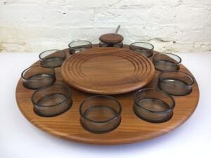 Fabulous 1960's Lazy Susan / serving tray in teak wood and smoked glass - by Digsmed - Made in Denmark - perfect piece for entertaining - think crackers and dip or a chocolate fondue ( house the fruit - chocolates - or re-purpose it to house your vintage jewellery .- many uses - $175