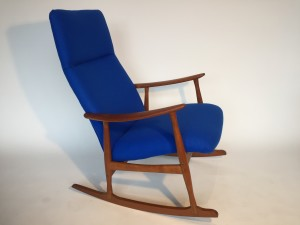 Marvelous Mid-century Modern teak rocking chair recently re-stored in a gorgeous Kvadrat wool - all new foam too and lovely re-finished wood frame - who said rocking chairs can't be stylish ... and no they do not age you... come try it out!! you may not want to get out:) - (SOLD)