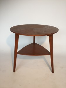"""Exquisite Mid-century Modern 2 tier teak end table by Mobelintersia - Made in Denmark - unique design with spectacular craftsmanship - lovely vintage condition - 19.75"""" diameter x 19.75""""H - (SOLD)"""