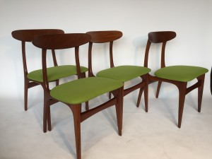 Lovely Set of 4 Mid-century Modern dining chairs - newly restored with new foam and 100% felted wool - these beauties not only look fantastic they are nice and comfy - come try them out!! - (SOLD)