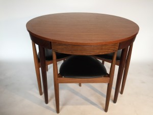 """Spectacular 1950's Scandinavian Modern compact teak dining table set designed by Hans Olsen for Frem Rojle - Made in Denmark- this lovely set is perfect for small spaces - micro living :) minimalism :) - 42""""diameter x 29""""H - good vintage condition - the table top is not perfect, but you could choose to refinish it at this price - (SOLD)"""