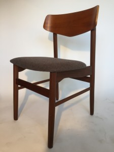 Handsome Danish Modern teak dining /occasional chair - completely restored - with newly re-finished frame , newly upholstered in a gorgeous 100% felted wool by Kvadrat - it's perfect - (SOLD)