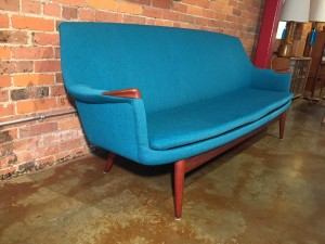 """Exceptional Scandinavian Modern teak framed sofa by Gerhard Berg - Made in Norway - this beauty retains it's stunning dreamy blue wool fabric - we spruced this beauty up with new strapping and custom natural latex foam in the seat -85""""L x 22""""D x 16.5""""SH x 33.5""""BH (SOLD)"""