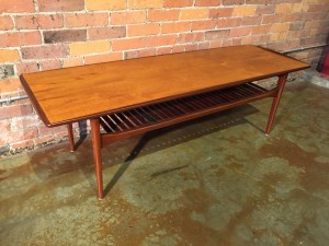 """Gorgeous Mid-century Modern 2 tier coffee table in a stunning contrasting complimentary wood and spectacular grain pattern and beautifully restored - stop looking now, you have found your forever coffee table - :) - 5ft x 20.5"""" x 18""""H - (SOLD)"""