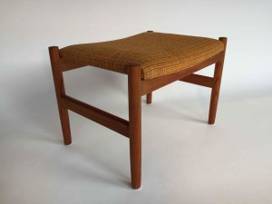 Gorgeous newly refinished Mid-century Modern teak foot stool by Spottrup - Made in Denmark - original fabric in fantastic condition - (SOLD)