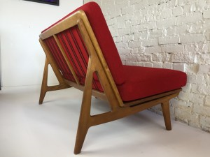 """Exceptional and UBER """"RARE"""" Mid-century Modern love seat designed by Peter Hvidt & Orla Molgaard - Nielsen - in restored condition - new foam and upholstered in a stunning high quality red wool by Maharam - fantastically comfortable --49""""L x 31""""D x 29""""BH x 16.5""""SH (SOLD)"""