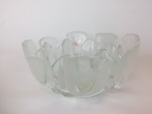 Gorgeous Mid-century Modern frosted glass candy dish , pickle dish ..... or ..... made in Canada -
