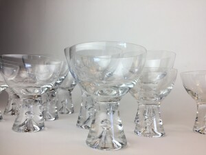 Exquisite MId-century Modern glassware designed by Tapio Wikkala for iittala - Finland - 3 sizes - champagne - 4 - sherry - 2 and cocktail - 6 - price for the 12 pieces $240 - WOW