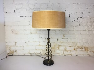 Fabulous 1950's Atomic metal table lamp with a fabulous burlap original shade - excellent vintage condition - this beauty would make a lovely contrast ( yet complimentary ) addition to your Scandinavian Modern teak furniture :) -$225