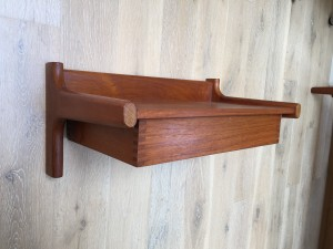 """WOW, 1960's teak wall shelf with drawer - incredible quality Danish craftsmanship - nice vintage condition - perfect for in an entry way, or bedside - measures - 19""""W x 11""""D x 8.75""""H - (SOLD)"""