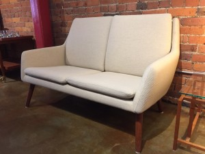 """Exquisite Danish 2 seater sofa/ loveseat in a gorgeous cream quality wool - Designed by Erik Osterman & H.Hopner Petersen for Godtfred Petersen - Made in Denmark - 49""""W x 24""""D x 30""""BH x 15.25""""SH - excellent vintage condition (SOLD)"""