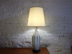 """Fabulous Mid-century Modern textured ceramic lamp with dark blue and yellow stripes - this beauty stands 32""""H -$275"""