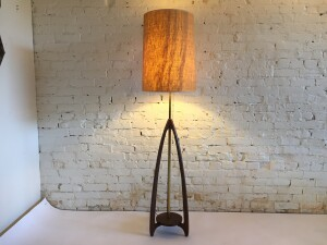 Spectacular Mid-century Modern walnut and brass floor lamp with a fabulous original vintage burlap shade - would make a lovely addition to you MCM inspired home - this beauty stands -(SOLD)