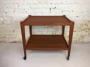 Fantastic MCM teak 2 tier bar cart /serving cart - newly refinished - perfect for entertaining or everyday use -(SOLD)