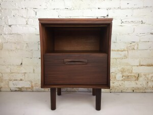 """Handsome nightstand by Imperial. Made in Canada in the 1960s, this beauty has amazing wood grain, sculptural handles and curved edges - newly refinished - 20""""W x 15""""D, 25.5"""".H - (SOLD)"""