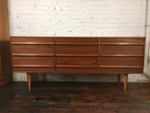 Handsome Mid-century Modern 9 drawer teak dresser - newly refinished (SOLD)
