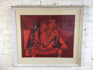 Great colour in this vintage abstract lithograph dated 1959 $475