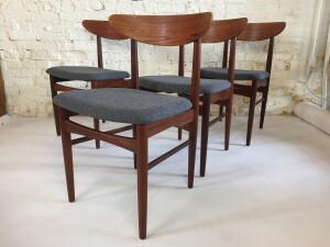 Spectacular Set of Mid-century Modern teak dining chairs completely restored with newly refinished wood frames, and new foam and high quality medium grey wool by Kvadrat on the seats -(SOLD)