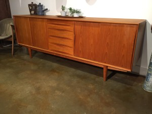 """Outstanding Mid-century Modern teak credenza by Danish company Dyrlund - incredible craftsmanship - quality made - come and see or ask us :) - nice patina too - this large beauty measures - 86.5""""L x 18.5""""(SOLD)D x 31.5""""H - (SOLD)"""