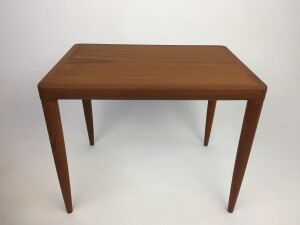 Handsome 1960's teak end table - lovely fingerjointed corners where the top meets the legs - perfect for beside your lounger or sofa - newly refinished - (SOLD)