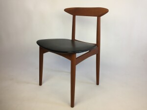 Handsome 1950s teak dining chair with it's original black vinyl seat - newly re-finished solid teak frame -$400