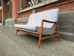 """Here is an incredibly sexy 1950's /60's Scandinavian high back sofa Designed by A. Relling & R. Relling- for Dokka Mobler - Made in Norway - a fantastic size for small spaces /micro living - 64""""L x 31""""D x 18""""SH x 33.5""""BH - (SOLD)"""