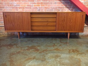 """1960's Mid-century Modern teak sideobard - the grain pattern and patina are incredible - makes for a perffect stylish and functional storage solution - think media - 89.25""""L x 18.5""""D x 31.5""""H - (SOLD)"""