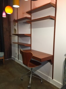 """1960's double bay wall system designed by Kai Kristiansen for Fm furniture - Made in Denmark - incredible vintage condition - adjust to suit - perfect for your living room and /or home office - 68.5""""W x 16""""D x 78.75""""H - (SOLD)"""