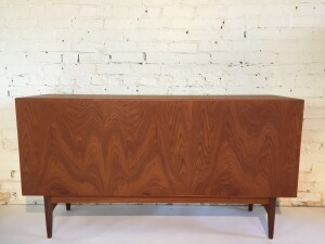 Back of the exceptional Mid-century Modern teak sideboard designed by Arne Hovmand Olsen - Made in Denmark - incredible high quality cratsmanship - gorgeous patina -lovely finished back so would be perfect as a room divider - the inside left reveals 4 small dovetailed drawers and the right has one adjustable shelf - would make a fabulous media unit and/or a use it in your dining room - office... many uses - (SOLD)