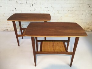 Handsome Pair of Mid-century Modern 2 tier walnut side tables the lower caned tier provides increased function for the space conscious - newly refinished and looking absolutely stunning - (SOLD)